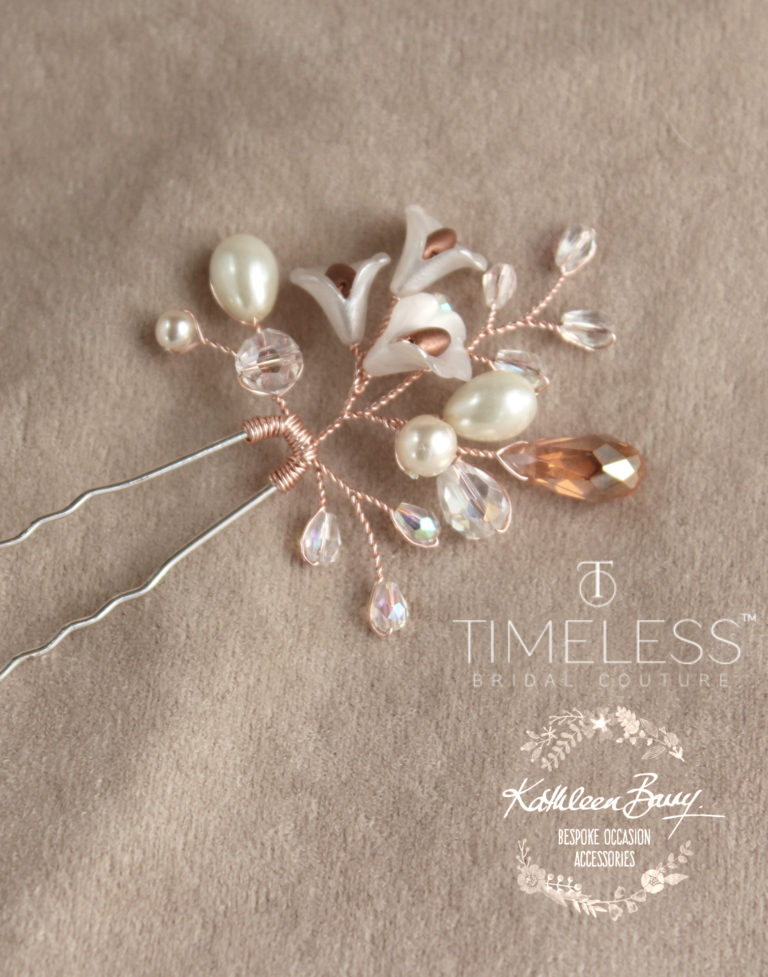 Jana hair pin rose gold copper kathleen barry timeless bridal