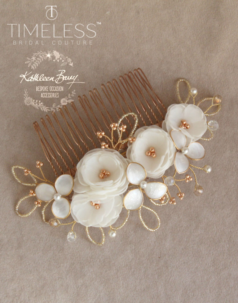 Rose gold hair comb ivory kathleen barry timeless bridal (1)
