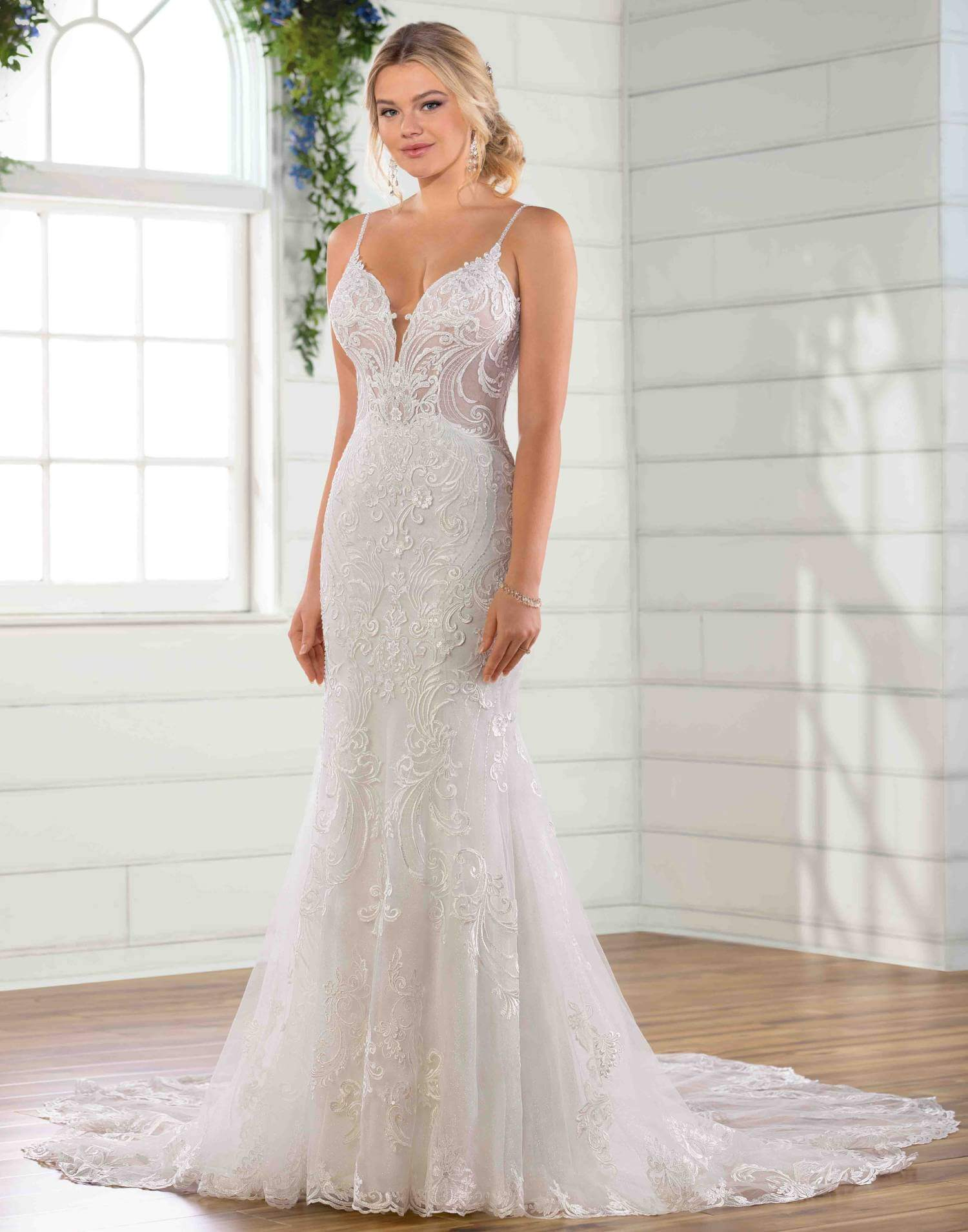 D2771 – Essense of Australia Wedding Dress Collection – Front View