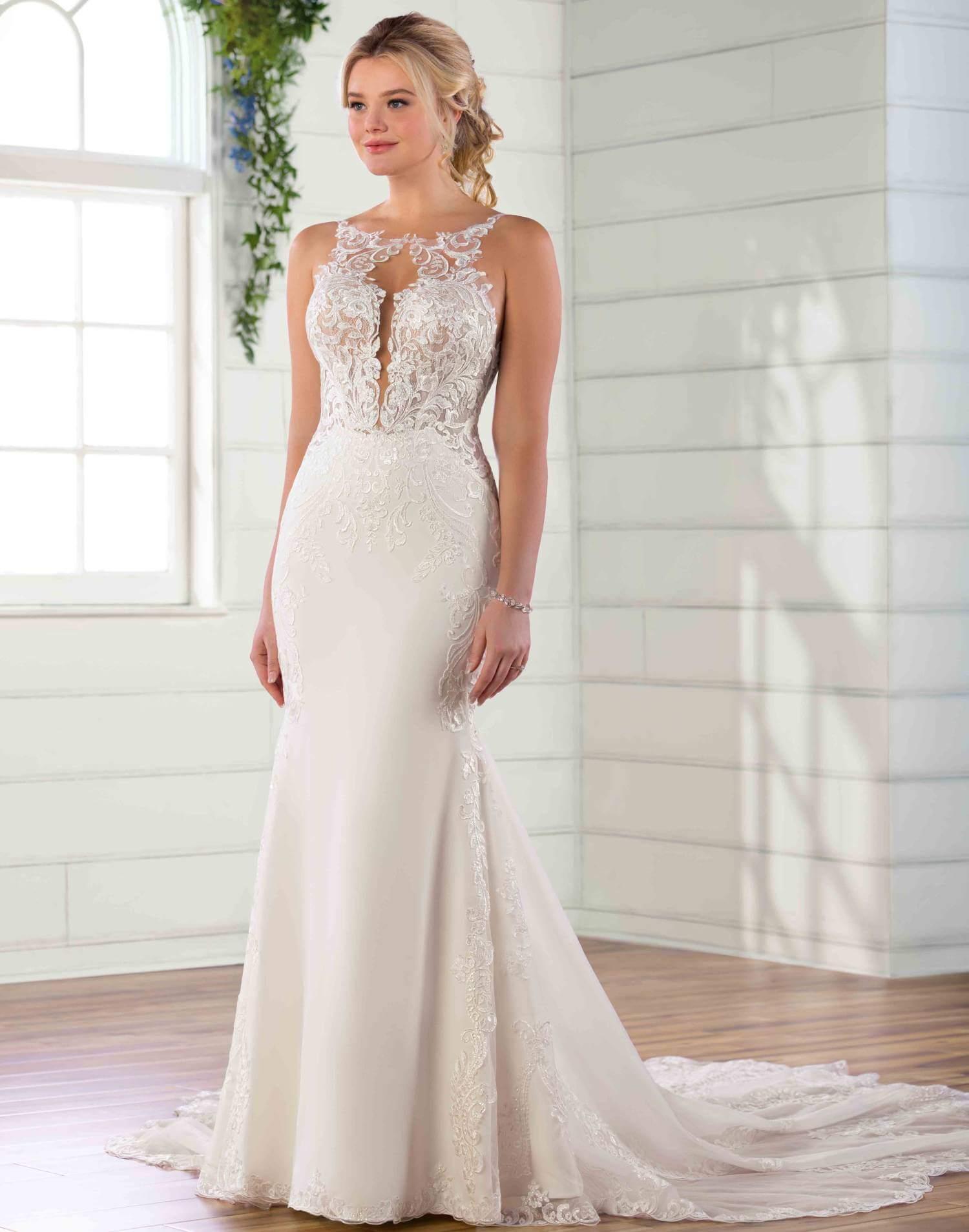 D2835 – Essense of Australia Wedding Dress Collection – Front View